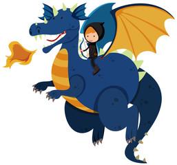 Hunter riding on blue dragon