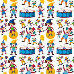 Seamless background with happy clowns