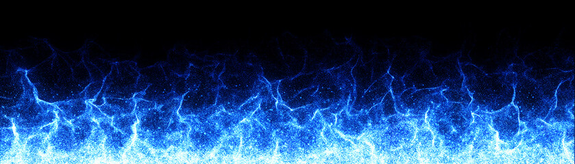 Magical Cold Blue Fire flames on black background - 3d rendering
