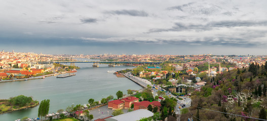 Istanbul city view from Pierre Loti Teleferik station overlooking Golden Horn, Eyup District, Istanbul, Turkey