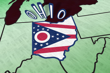 Ohio State Illustration in perspective USA map