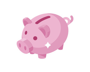 Piggy bank simple vector illustration.