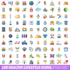 100 healthy lifestyle icons set, cartoon style