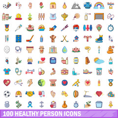 100 healthy person icons set, cartoon style