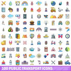 100 public transport icons set, cartoon style