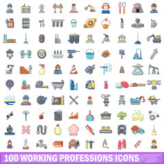 100 working professions icons set, cartoon style