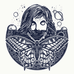 Woman in space tattoo art. Surreal girl sinks in universe. Girl and butterfly space, goodnes woman and galaxy t-shirt design. Symbol of magic, esoterics, astrology