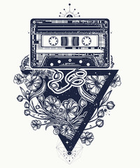 Audio cassette and graceful flowers in mystical triangle tattoo and t-shirt design.  Symbol of retro music, nostalgia, 80th and 90th. Old audio cassette and music notes, symbol of pop music, disco