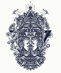 Mayan tattoo and t-shirt design. Indian mayan carved in stone tattoo art. Ancient aztec totem and art nouveau flowers, Mexican god. Ancient Mayan civilization
