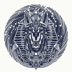 Anubis and universe tattoo and t-shirt design. Ancient Egypt Anubis, god of war, Golden Mask of the Pharaoh, symbol of next world, kingdom of dead tattoo art