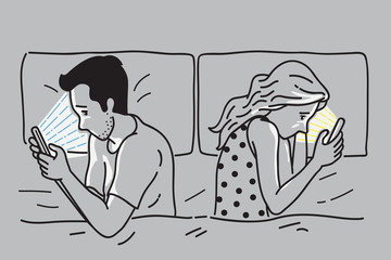 Smartphone addiction on bed