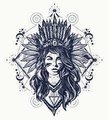 Tribal woman tattoo and t-shirt design. Native American woman tattoo art. Ethnic girl warrior. Young woman in costume of american indian