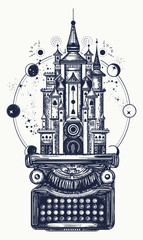 Typewriter and magic castle tattoo. Symbol of imagination, literature, philosophy, psychology. Antique typewriter, ancient castle and Universe, surreal t-shirt design and tattoo art