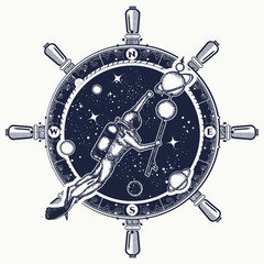 Astronaut in deep space t-shirt design. Symbol of science, research, space travel. Diver catches planets in space. Diver floats in space, steering wheel, compass tattoo art