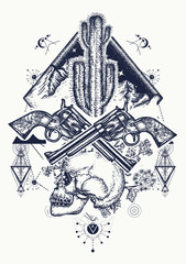 Wild west art. Human skull, mountains, crossed guns, cactus tattoo. Symbol of the wild west, robber, crime Texas t-shirt design