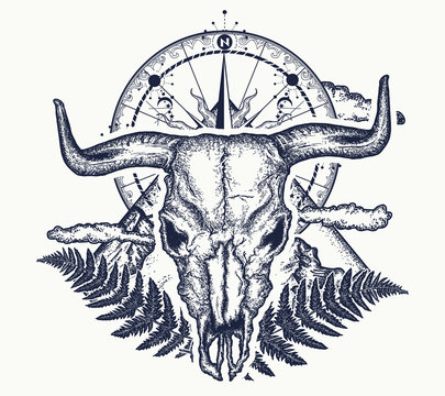 Mountains, compass and bull skull tattoo. Symbol of tourism, rock climbing, camping. Mountain top, vintage compass, bison skull tattoo and t-shirt design
