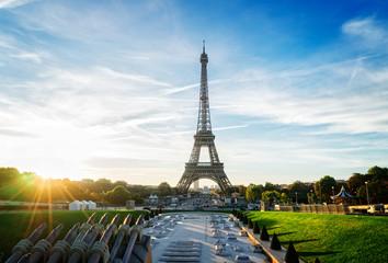 Eiffel Tower from Trocadero at sunrise, Paris, France, retro toned