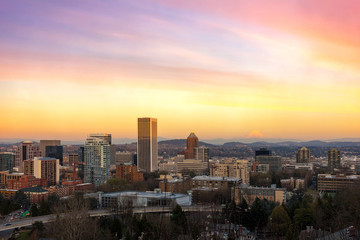 Sunset over Portland OR Cityscape and Mt Hood USA America