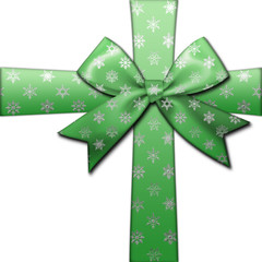 Stock Illustration - Green Ribbon and Bow, Snow flakes, 3D Illustration, White background.
