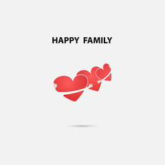Heart signs and Happy Family vector logo design template.Friends forever.Wedding.Family.Love and Heart shape concept.Vector illustration