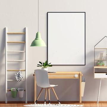 Pastel child's room. playroom. modern style. 3d illustration. Poster mock up