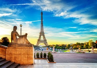 Eiffel Tower from Trocadero garden at sunrise, Paris, France, retro toned