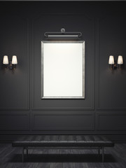 Dark classic interior with a silver picture frame. 3d rendering