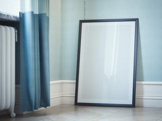 Blank picture frame in classic interior. 3d rendering