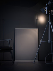 Dark interiuor with blank poster and spotlight. 3d rendering