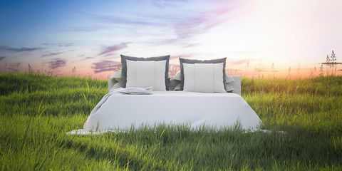 Snow-white bed in a beautiful summer field. 3d rendering