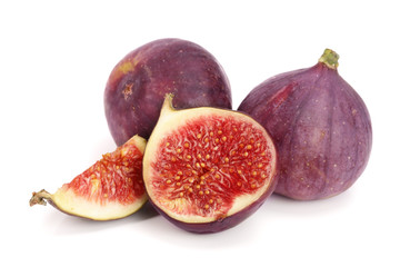 fig fruits with half and slices isolated on white background