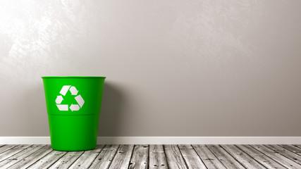 Recycle Bin on Wooden Floor
