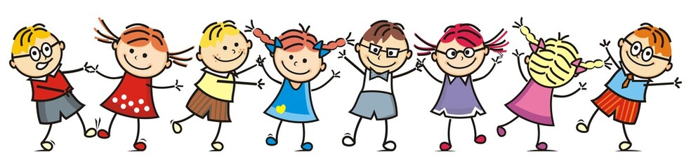 Happy dancing kids, group of children, vector illustration, smile face