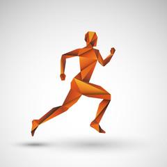 złoty biegacz origami wektor
