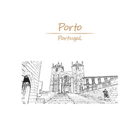 Hand drawn sketch of View on the aquare with Se cathedral and Pillar column Porto city, Portugal in vector illustration.