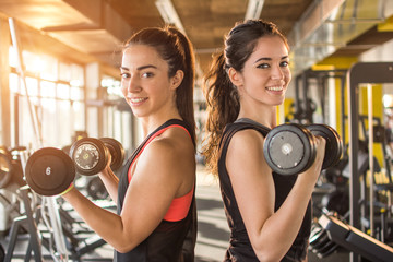 Two beautiful smiling sporty girls lifting weights together in gym.