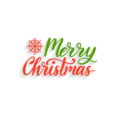 Vector Merry Christmas lettering. Nativity typography. Happy Holidays greeting card, poster template