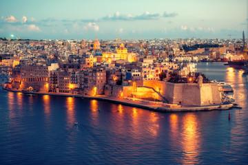 beautiful view of Grand Harbour and Senglea, L-isla, peninsula with Fort Saint Michael, Malta