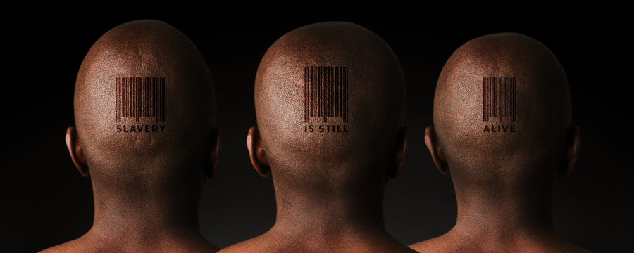 Illustrative image of three African men with retail barcode tattoos.