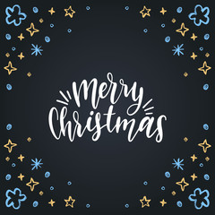 Merry Christmas lettering on black background. Vector hand drawn illustration of stars. Happy Holidays greeting card.