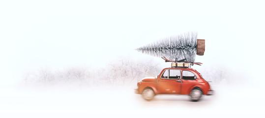 Joyeux Noël,voiture rouge et sapin dans la neige