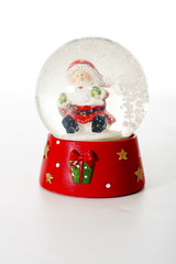 Nicholaus christmas souvenir glass ball. Dolphin Christmas Illustration. Snowing snow glass ball. Isolated.