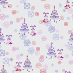 Little bunny decorates the Christmas tree. Seamless pattern. Design for children's textiles and packaging materials, background image.