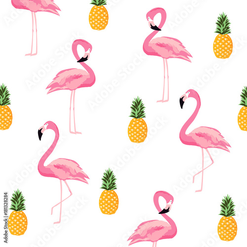 Pineapple And Flamingo Isolated Seamless Pattern Background Cute Poster Design Wallpaper Invitation Card