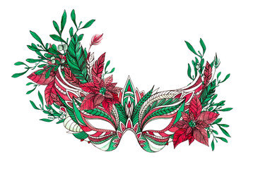 Beautiful festive Christmas carnival mask with red and green feathers, mistletoe, holly berries, poinsettia flowers, pine branches isolated on white background. Watercolor ink illustration.