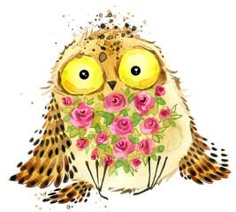 Cute owl. Owl watercolor illustration