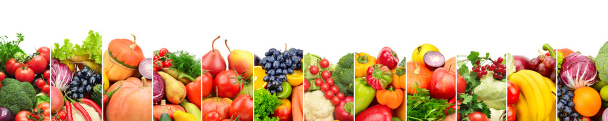 Panoramic collection fresh fruits and vegetables isolated on white.
