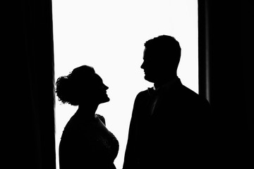 Silhouette of couple. Wedding persons - bride and groom