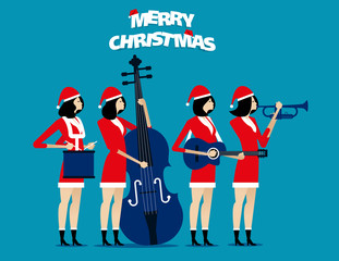 The Band. Santa team relax. Concept holiday vector illustration. Flat character design style.