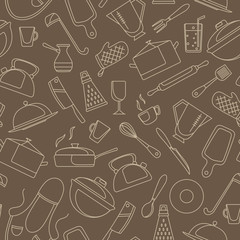 Seamless pattern on the theme of cooking and kitchen utensils, simple contour icons, beige contour on brown background